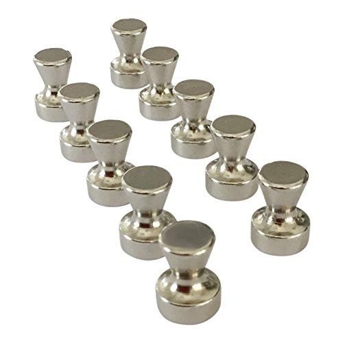 Acandoo - 10 Stück superstarke Neodym Magnete, Chrom hochglänzend   Durchmesser 11 Höhe 15 mm   Sehr starke Büromagnete, Karten-Pins   Pinns für Kühlschrank, Whiteboard, Magnettafel, Karten, Kalender & Notenständer. (Stahl Magnet Kühlschrank)