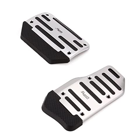 HDE Silver and Black Stock Car Racing Style Non Slip Pedal Cover Kit for Automatic Transmissions