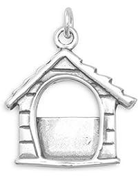Broche de plata de ley para pulsera de perro House marco de fotos marco de fotos mide 19 x 15,5 mm - JewelryWeb