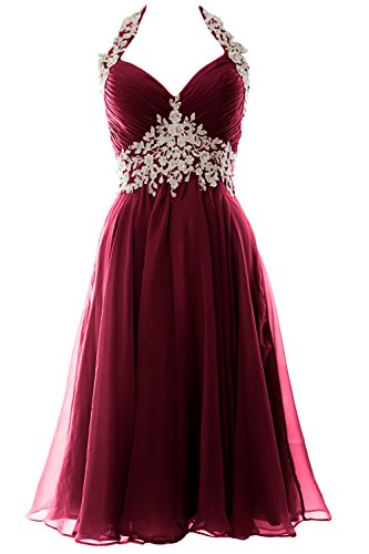 MACloth Gorgeous Short Prom Ball Gown Halter Wedding Party Formal Dress (38, Weinrot) (Short Dress Lace Shorts)