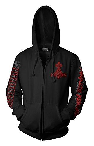 Wotan Textil Asgards Krieger 4 Vikingship - KapuzenzipJacke 4XL - Heavy Full Zip Sweater