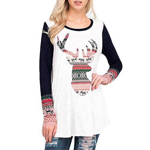 OverDose Damen Tuniken Pullover Festival Weihnachten Frauen Rentier Blusen T-Shirt Xmas Party Clubbing Schlank Langarmshirts(K-Marine,EU-42/CN-XL)