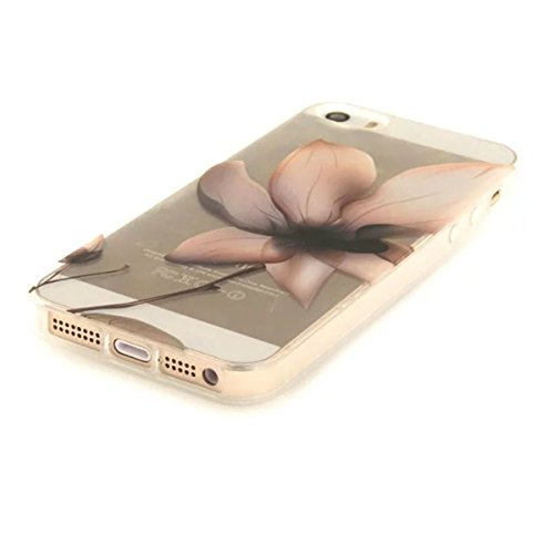 iPhone 5S Hülle, iPhone SE Hülle, Gift_Source [ Pinguin ] Hülle Case Transparent Weiche Silikon Schutzhülle Handyhülle Schutzhülle Durchsichtig TPU Crystal Clear Case Backcover Bumper Case für iPhone  E1-Magnolie