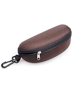 Portátil EVA caja de gafas de sol funda rígida con cremallera Gafas Caja marrón café