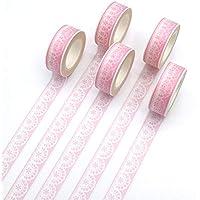 HHANDM 5 Unids/set Cinta Washi Encaje Rosa Encantadora Creativa Decoración Bricolaje Scrapbooking Planner Cinta