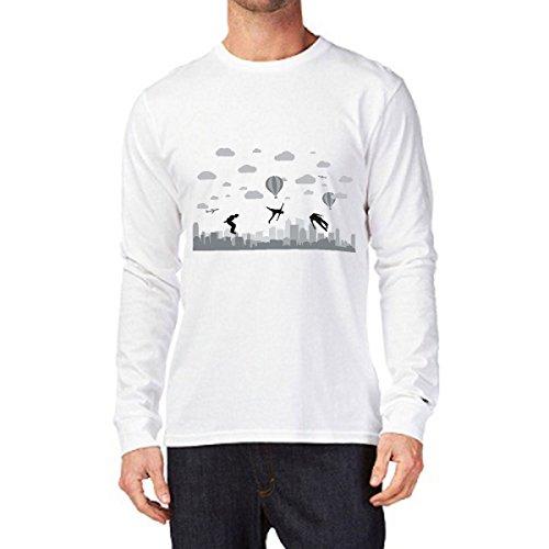 t-shirt manica lunga Parkour, allenamento, ostacoli - S M L XL XXL uomo donna bambino maglietta by tshirteria bianco