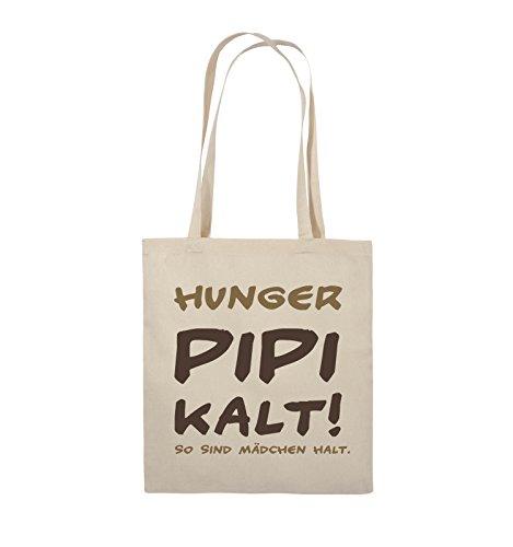 Comedy Bags - Hunger pipi kalt! So sind Mädchen halt! - Jutebeutel - lange Henkel - 38x42cm - Farbe: Schwarz / Weiss-Neongrün Natural / Hellbraun-Dunkelbraun