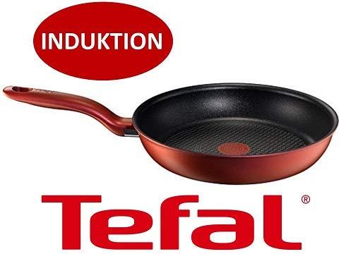 Tefal Pfanne E43804 Reflet Induktion Bratpfanne 24cm Rot mit Thermo Spot Antihaftbeschichtung Thermo-spot