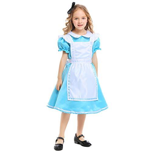 Wunderland Baby Alice Kostüm Mädchen Im - COSOER Alice Im Wunderland Mädchen Dienstmädchen Kostüm Halloween Princess Dress Performance Kleidung,Blue-XS//95-110cm