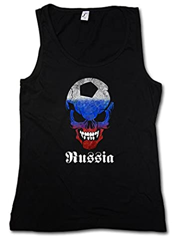 BLACK RUSSIA RUSSIAN FOOTBALL SKULL FLAG DAMEN TANK TOP – Fußball Fan Hooligan Totenkopf Soviet Union Putin CCCP UDSSR Shirt Sizes S – XL