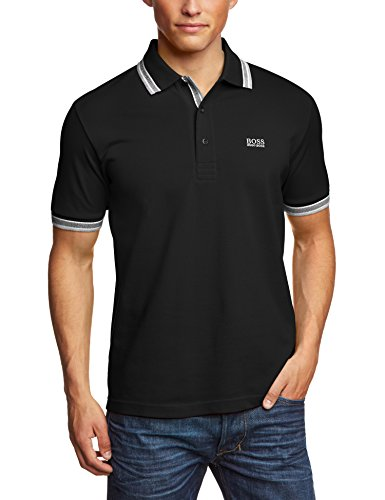 Mens Boss Green Paddy 50198254 Polo Shirt, Black, Large