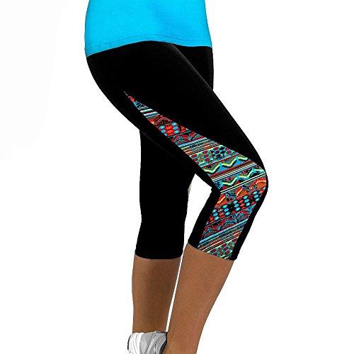 NINGSANJIN Damen Leggings Yogahose Jogginghose Sport Leggins Hose Fitness Traininghose 3/4 Sporthose Tights Laufhose Elastische Strumpfhosen Mehrfarbig Drucken Hohe Taille Sportswear (Mehrfarbig,XL)