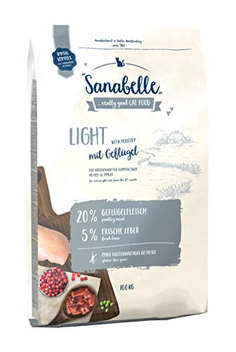 Sanabelle Light | Katzentrockenfutter mit vermindertem Energiergehalt für übergewichtige Katzen, 1er Pack (1 x 10000 g)