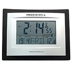 Precision Silver LCD Radio Controlled Alarm Clock, Black