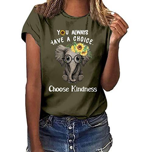 YU'TING Camisetas de Mujer Tallas Grandes, Cute Impreso Camisetas de Verano Mujer Manga Corta Tops Blusa Casual Señoras Camisetas de Algodón Blusas de Estampado de Elefante bebé