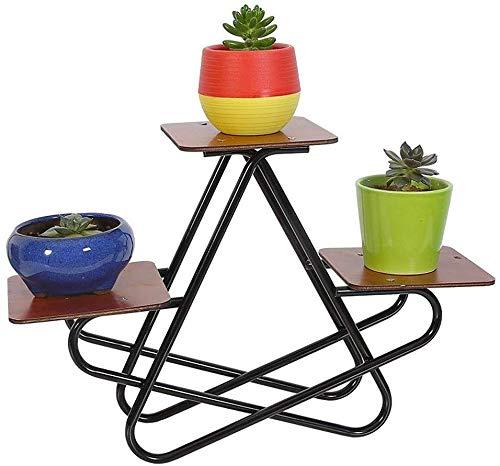 Racks Raum Pflanze Stehen Garten-Blumen-Display-Desktop Fleshy Fünfeck Bracket Design-Reihe-Multifunktions Kleine Malprozess Eisen + Holz (Color : Black)