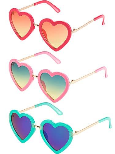 Blulu 3 Paare Kinder Polarisiert Herz Geformt Retro Sonnenbrille für Kleinkind Mädchen Zwischen 3-10 Jahren mit Brillentasche und Brillentuch (Farbe 1)