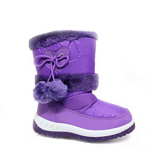 EnvyLondon Girls Pink Purple Flower Winter Kids Fur Snow Moon Mucker Waterproof Wellington Wellies Boots Shoes Infant 3 4 5 6 7 8 9 10