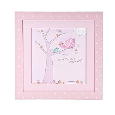 Pink Little Bird Wall Hanging Framed Picture Baby Girls Nursery Decoration - cheap UK light shop.