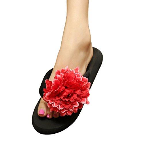 YOUJIA Femmes Boho Fleurs Tongs été Plage Compensées Plateforme Sandales #4 Noir Rouge