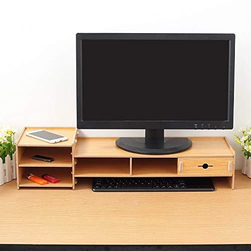 Rhinocoeu Wooden Monitor Stand Computer Riser Holder for Office Home Desktop Monitor LCD TV Laptop Computer Screen