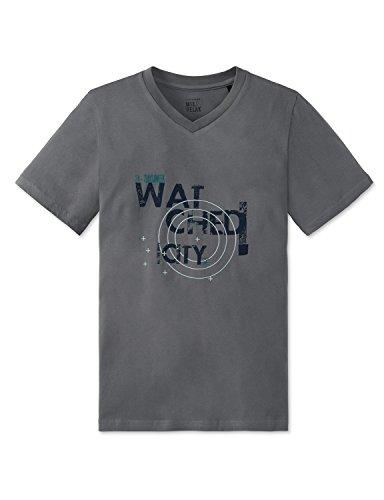 Schiesser Jungen Schlafanzugoberteil Mix & Relax Shirt 1/2, (Grau 200), 152 (Herstellergröße: S)