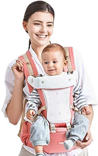 Mochila Portabebé Ergonómico Multifuncional 4 en 1 Fular Porta Bebé con Múltiples Posiciones Suave Ajustable para Niños (Rosa)