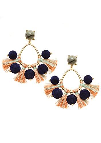 Happiness Boutique Damen Ohrringe mit Quasten und Bommeln in Blau und Orange | Bunte Pom Pom Ohrhänger Mehrfarbige Bällchen