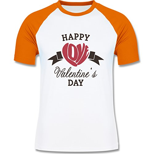 Valentinstag - Happy Valentine's Day Herz Love Typographie - zweifarbiges Baseballshirt für Männer Weiß/Orange
