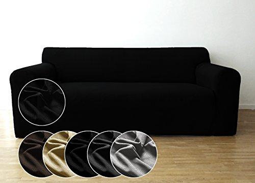Copridivano bellboni, coprisofà, copridivano elasticizzato per una vasta gamma di divanetti a 2 posti, nero