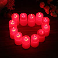 LED Flameless Candles of 12 white Flickering LED Candles, Flameless Tea Lights for Decoration, Festivals, Weddings with Batteries New large led electronic candle wedding proposal atmosphere layout Set