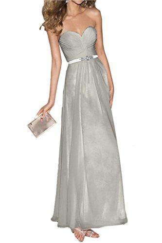 Ivydressing Damen Guertel Herz-Ausschnitt A-Linie Charmeuse&Chiffon Promkleid Lang Festkleid Abendkleid Silber