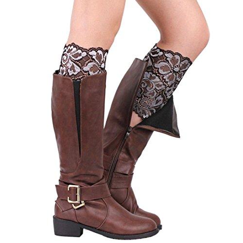 Sannysis Damen Stretch-Spitze Stiefel Fußschellen weiche Spitze Stiefelsocken (Silber) (Spitzen-stretch-stiefel)