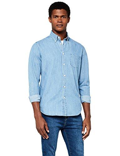 Meraki camicia di jeans a manica lunga slim fit uomo, blu (light blue), large