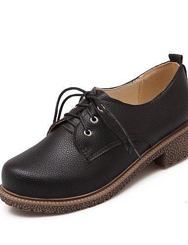 ZQ Scarpe Donna - Stringate - Tempo libero / Ufficio e lavoro / Casual - Chiusa / Cinturino alla caviglia - Quadrato - Finta pelle -Nero / , red-us10.5 / eu42 / uk8.5 / cn43 , red-us10.5 / eu42 / uk8. black-us7.5 / eu38 / uk5.5 / cn38
