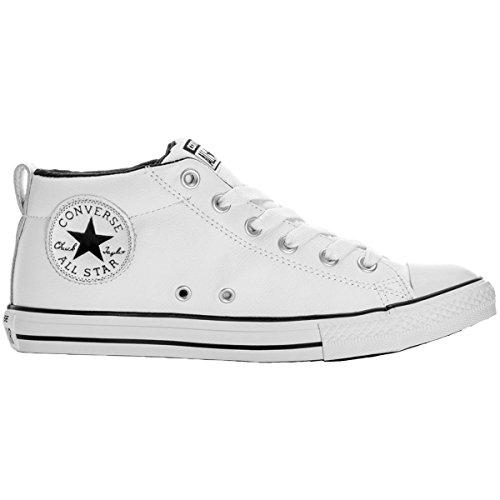 Converse Youth Chuck Taylor all Star Street Mid Pelle White Black Formatori 38.5 EU