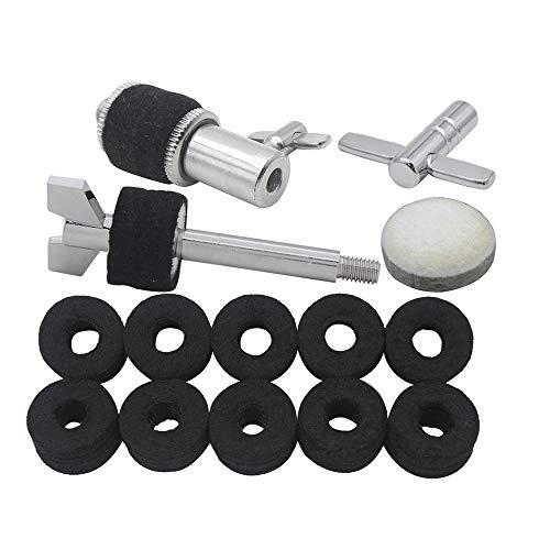 Kalaok Kit de accesorios del juego de batería que incluye el embrague Hi-Hat + la almohadilla de fieltro de lana para el batidor de pedal de batería + 10 piezas de arandelas de fieltro para platillos