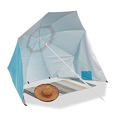 Relaxdays Strandmuschel Schirm, Sonnenschirm Strandzelt m. Tragetasche, UV 50 Sonnenschutz, Schirm HxD 210x180cm, Blau von Relaxdays - Gartenmöbel von Du und Dein Garten