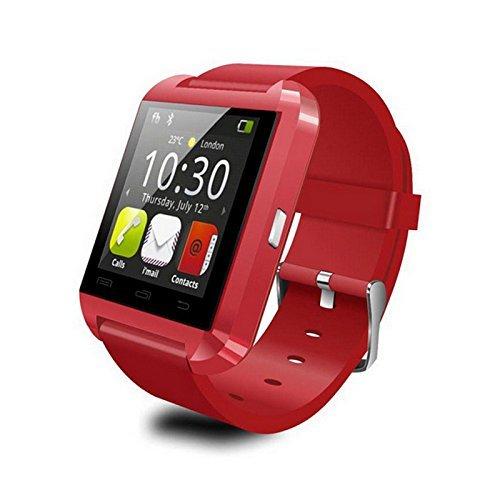 U8 Bluetooth Smart-Watch Phone Armbanduhr Handy für Android-System Smartphones Galaxy HTC LG (Rot) Auto Dialer-alarm-system