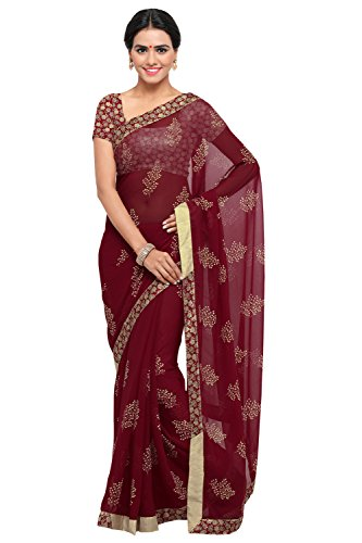 Triveni Georgette Maroon colour Festival Wear Printed Traditional Saree with blouse piece