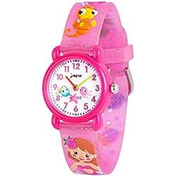 WOLFTEETH Analog Girls Toddlers School Day Reloj de Pulsera con Segunda Mano Cute Small Face Dial Redondo Water Little Girl Resistente al Reloj Sea Horse Band Pink 306605