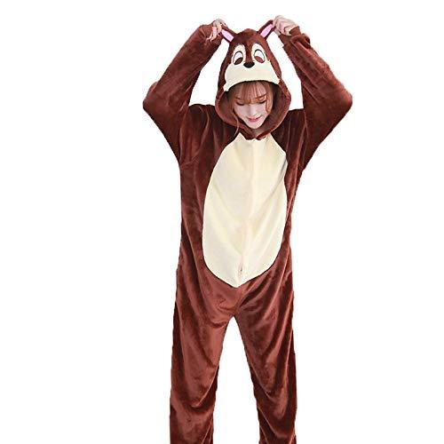 DUKUNKUN Erwachsene Pyjamas Chipmunk Pyjamas Kostüm Flanellstoff Brown Cosplay Für Tier Nachtwäsche Cartoon Halloween Festival/Urlaub/Weihnachten,S