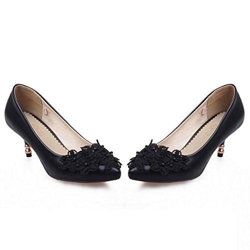 TAOFFEN Femme Elegant A Enfiler Moyen Talons Escarpins Chaussures Soiree Robe Avec Perle Noir