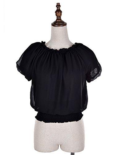 Anna-Kaci Rüschen Puffy kurzarm Schulterfrei elastische Mittel Smocked Taille peasant Boho Bluse Chiffon Shirt Schwartz