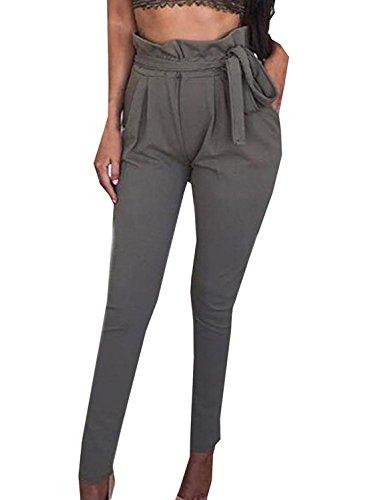 Feminines Seiden-pants (Minetom Damen Elegant Hohe Taille Hose elastischer Bund Mit Tunnelzug Schnüren Einfarbig Pants Businesshose Beiläufige (EU S, Dunkelgrau))