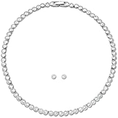 Idea Regalo - Swarovski Set Tennis, bianco, placcatura rodio