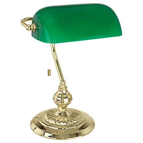 Lampe de table EGLO Banker Traditional 60 W interrupteur à tirette laiton, vert