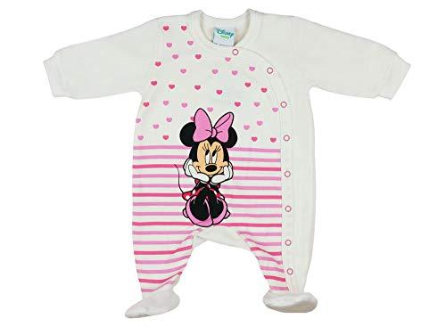 Langarm Baby Mädchen Minnie Mouse Wickel Strampler Overall Weiß von Disney mit Füsschen 100% Baumwolle in Größe 56 62 68 für 3 6 Monate und Frühchen mit Patentknöpfe und Fuß Größe 68 -