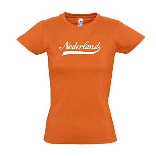 Damen T-Shirt - Nederland Oldschool Holland Oranje LÄNDERSHIRT EM / WM FAN Trikot S-XXL , Orange - weiß , S