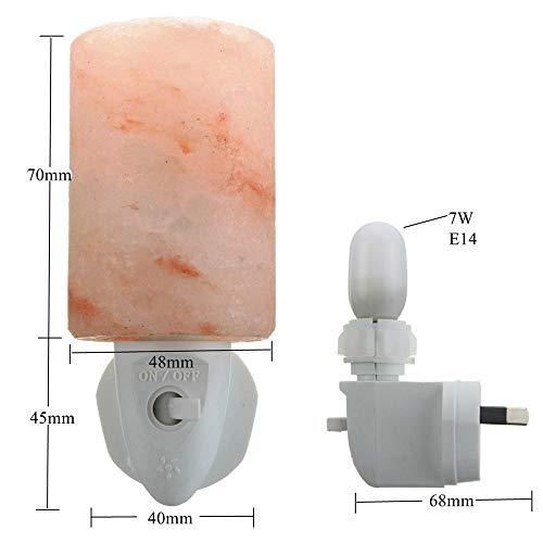 Zylindrische Mini-lampe (2PACK Kristall Salz Lampe Mini Nachtlicht Wand Stecker zylindrische Home Decor tragbare Lampe)